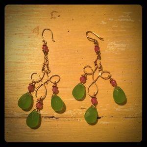 Gold Toned Purple/Green Chandelier Earrings